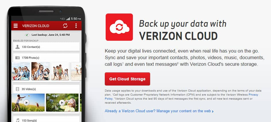Back up your contacts, photos, texts and more with Verizon