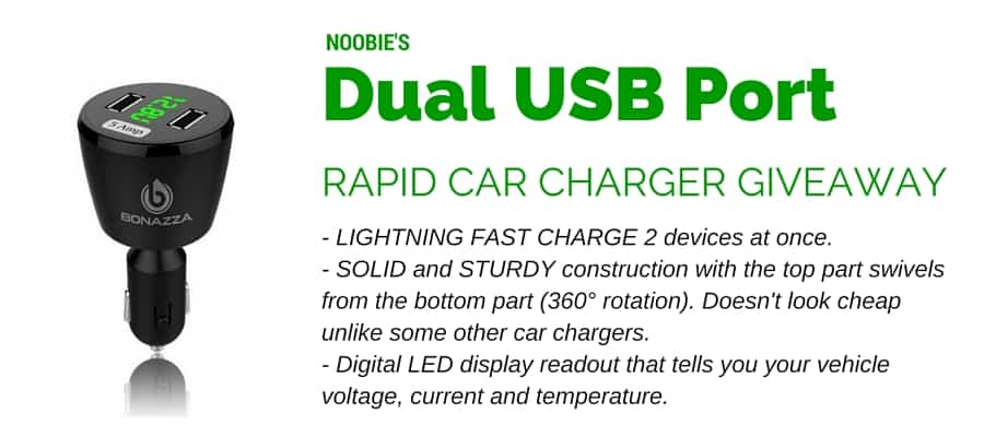 Win A Dual Usb Port Rapid Car Charger From Noobie Noobie