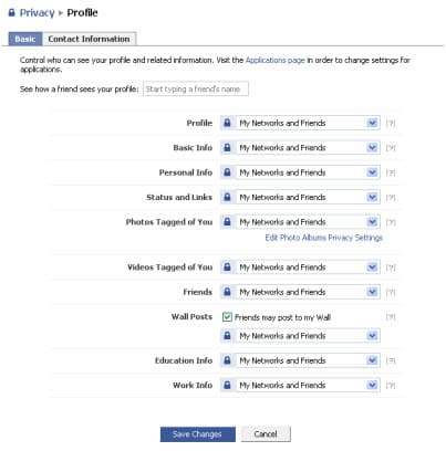 Facebook Privacy Profile