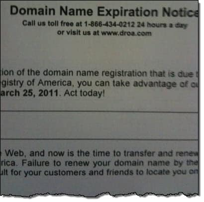 Don't Be Fooled. Domain Registry of America is Scamming You