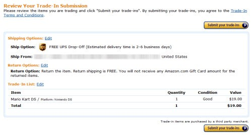Amazon.com Electronics Trade-In Program Review Your Trade-In Submission