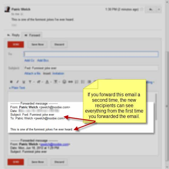 Forwarding an email in Gmail