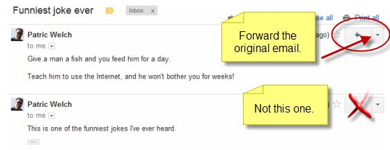 Gmail forward original email