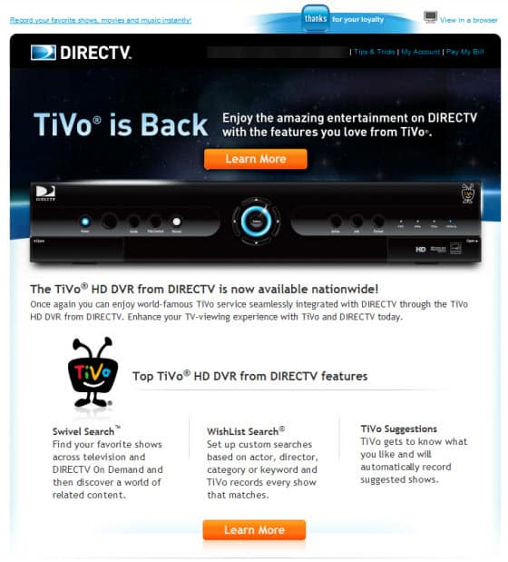 TiVo has come back to DIRECTV    and I don't care - Noobie