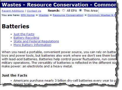 Batteries EPA website