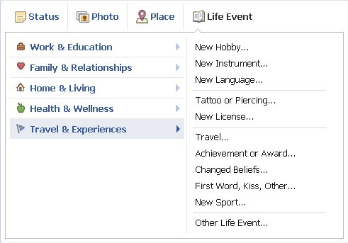 Facebook add a life event
