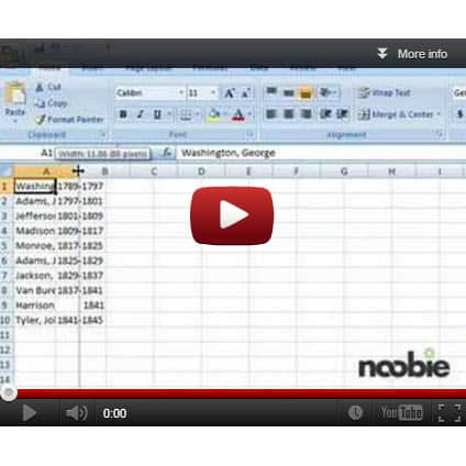 Resizing Cells in Microsoft Excel