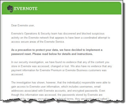 Evernote password breach