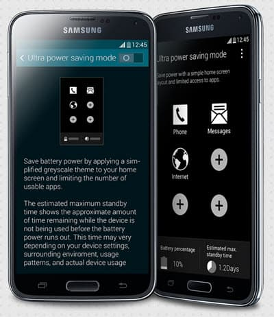 Samsung Galaxy S5 power modes