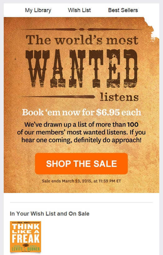 Audible: In your wish list and on sale
