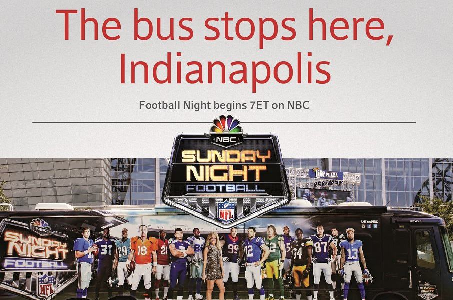 "Football fans invited to tour ""Sunday Night Football"" bus at Indianapolis XFINITY store"