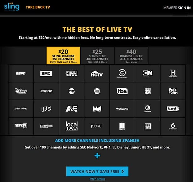 Sling TV | Awesome Video Streaming Alternatives to Netflix | amazon prime
