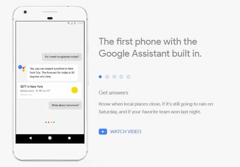 Pixel: Google Assistant built in
