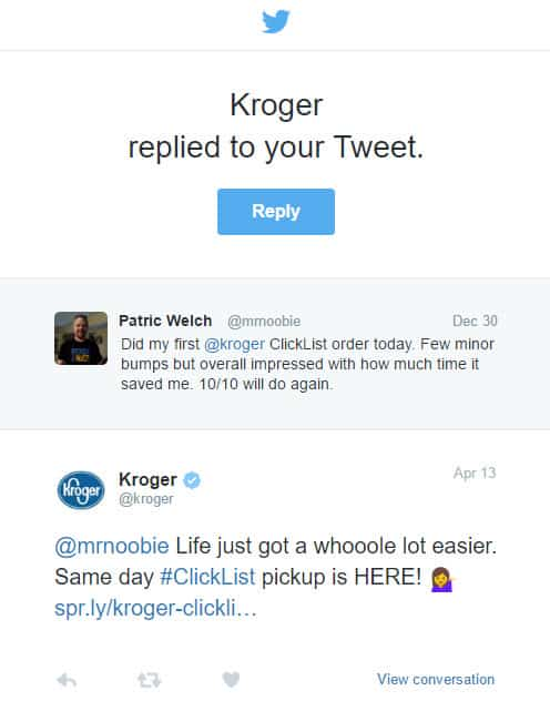 Thank you Kroger for replying to my tweet… 104 days later
