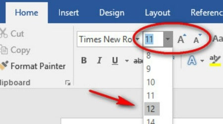microsoft word how to change font