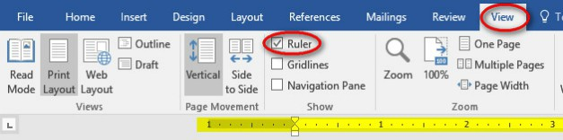 microsoft word layout setting tab stops and showing formatting