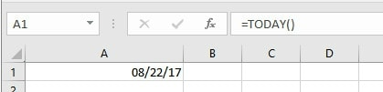 "Formula for ""=TODAY()"" and ""=NOW()"" 