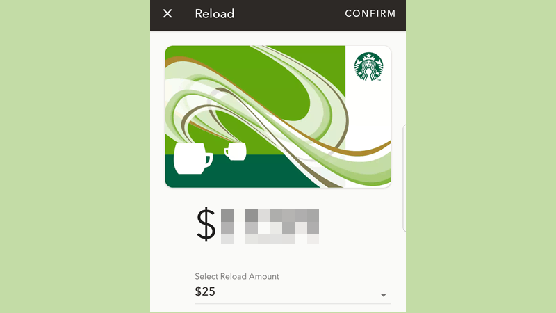 Starbucks app reload card