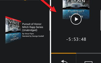 Audible app - regular mode (left), car mode (right)