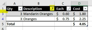 Table Filter | Excel Format as Table with Total, Sort and Filter