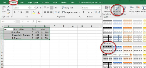 Format As Table | Excel Format as Table with Total, Sort and Filter