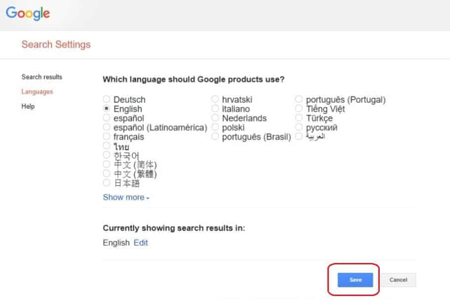 Click on Save | How To Change Language In Google Chrome
