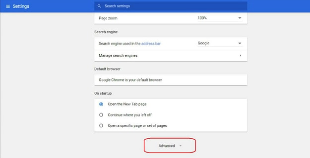 "In Settings, Click on ""Advanced"" 