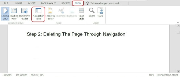 Deleting The Page Through Navigation | How To Delete A Page In Word