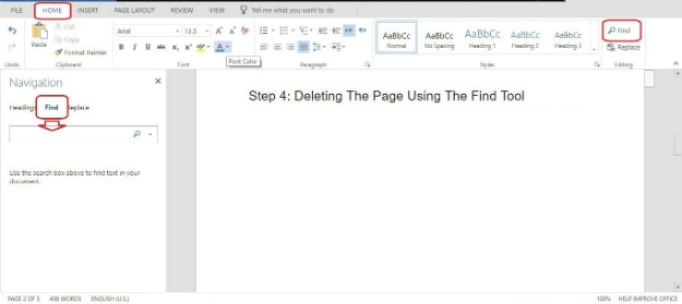 Deleting The Page Using The Find Tool | How To Delete A Page In Word
