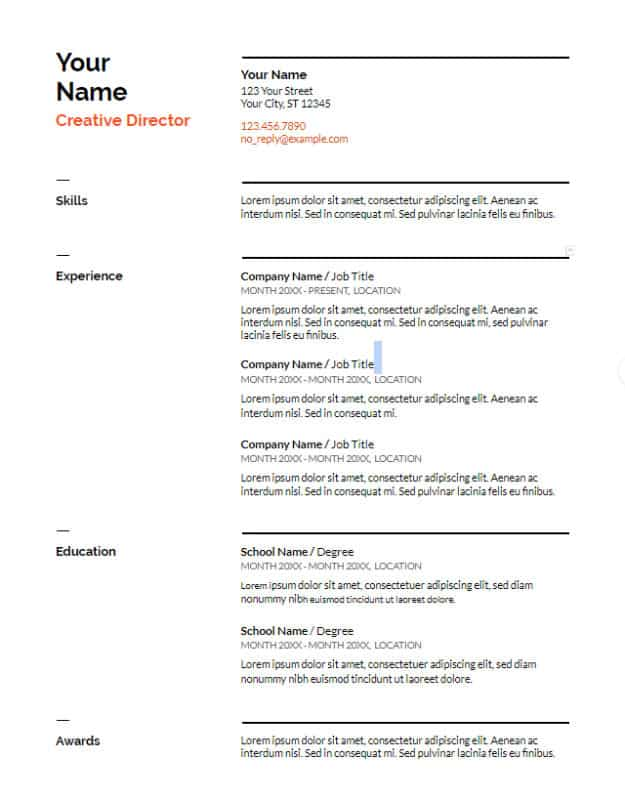 Google Docs Resume Template To Ace Your Next Interview - Google documents resume