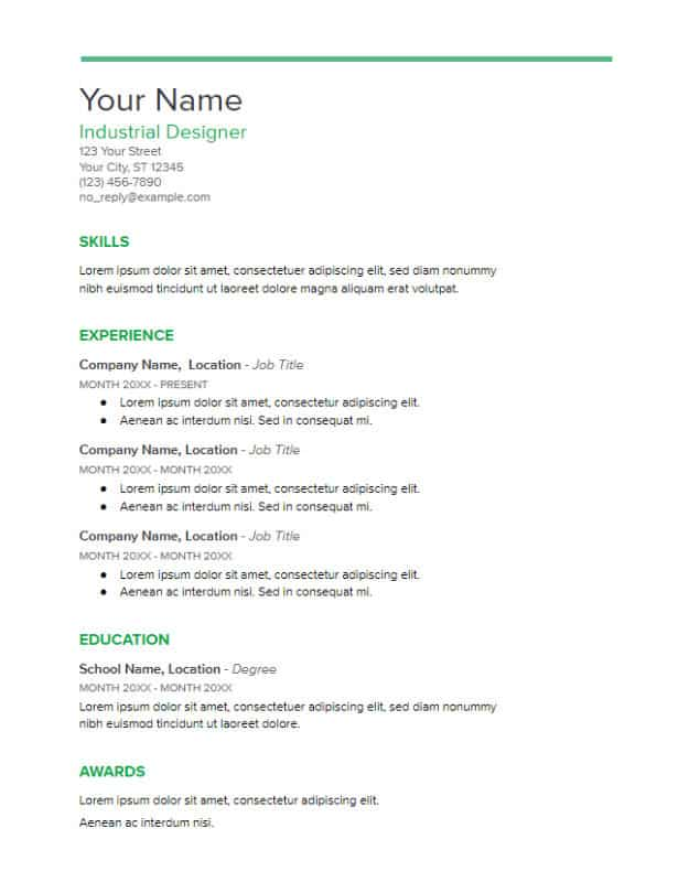 Google Docs Resume Template To Ace Your Next Interview