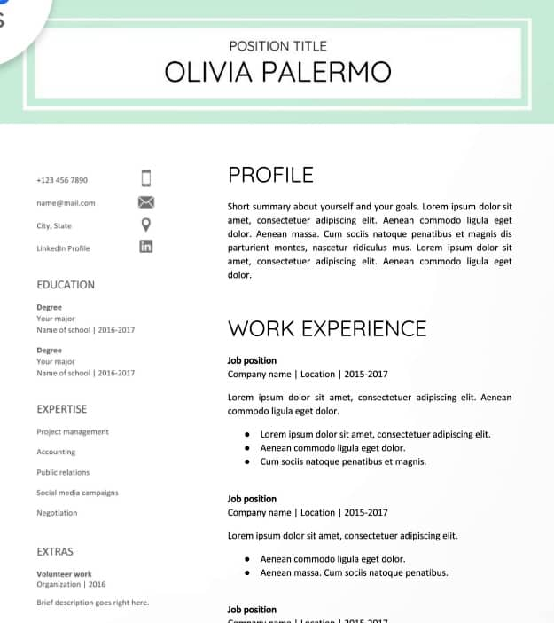 previewresume using google docs resume templates polished and fresh