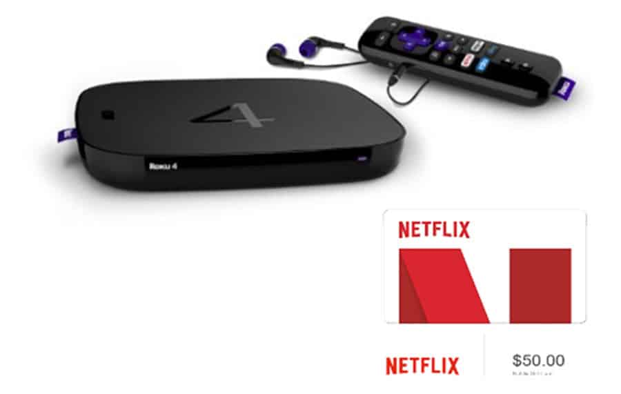 Roku 4 HD and 4K Streaming Media Player and $50 Netflix gift card