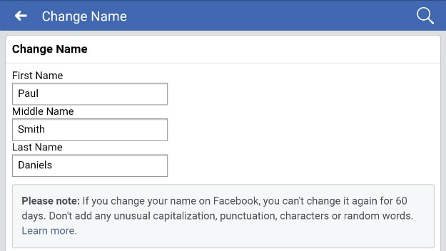 changing name section | How To Change A Name On Facebook
