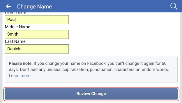 reviewing change | How To Change A Name On Facebook