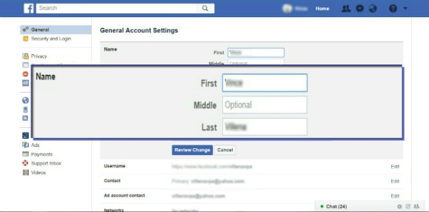 changing name on facebook | How To Change A Name On Facebook