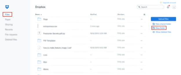 Go to the right side and press New Folder | How Does Dropbox Work? | cloud | dropbox app