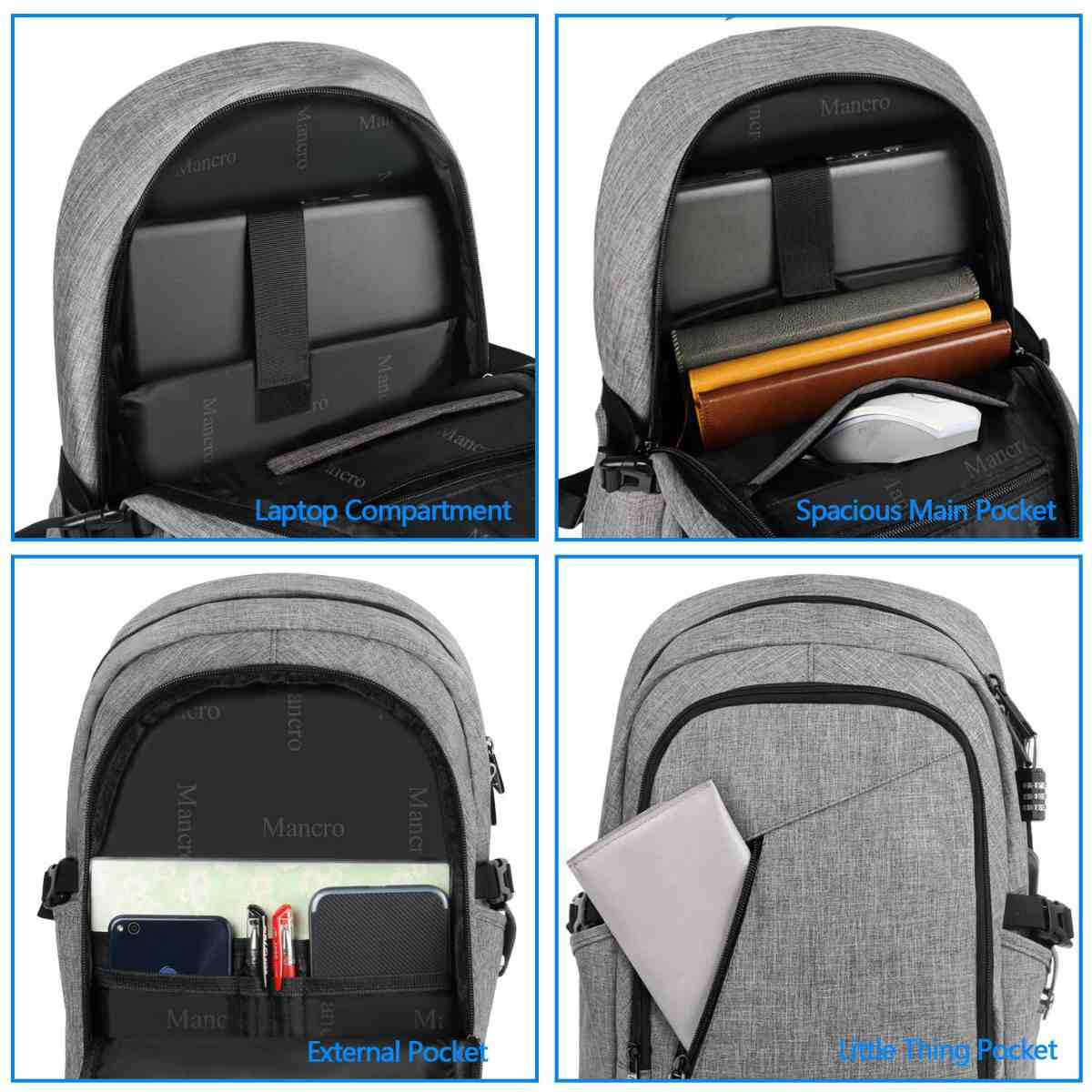 Features | The Mancro Travel Charging Backpack | Amazon Finds