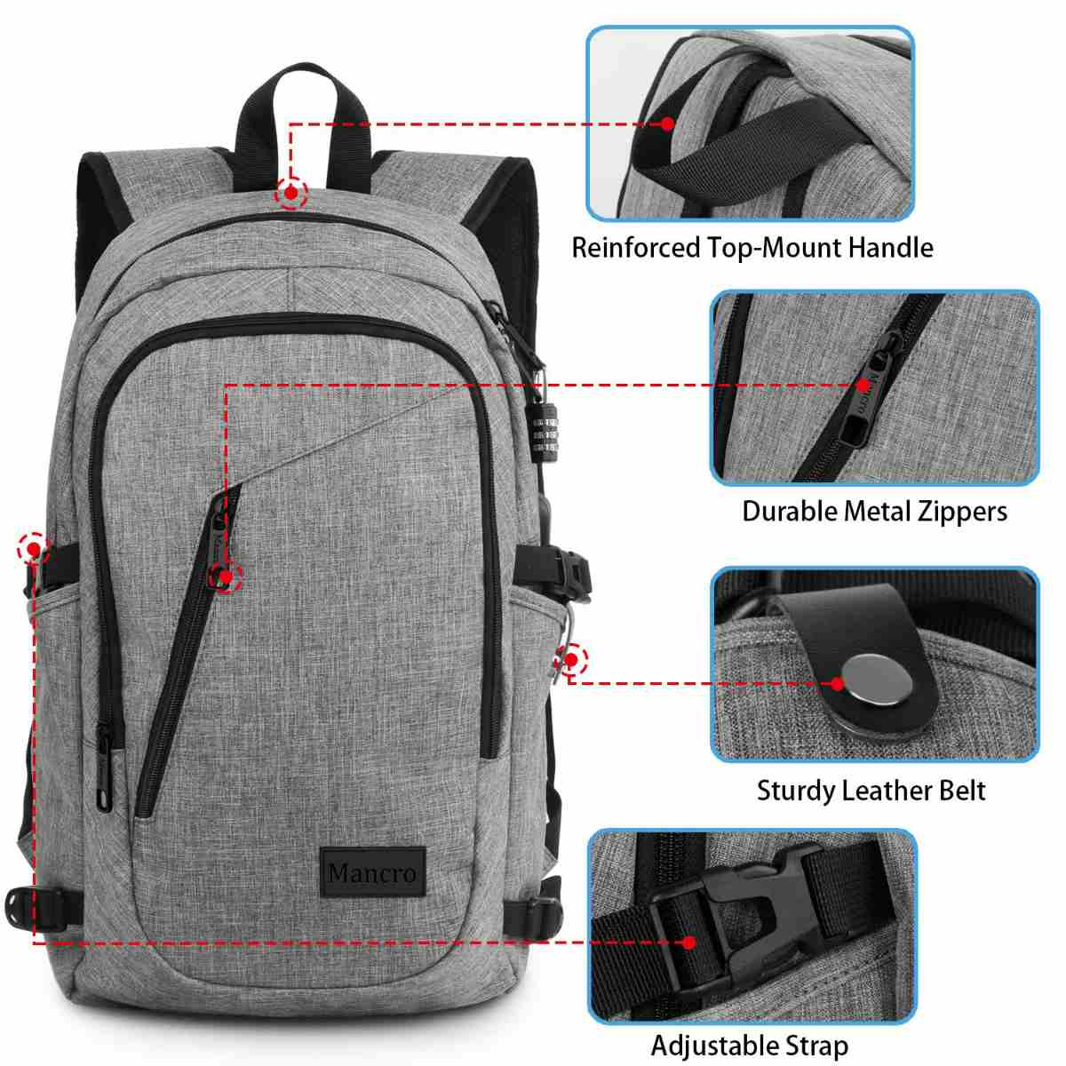 Specifications of the Mancro Charging Backpack | The Mancro Travel Charging Backpack | Amazon Finds
