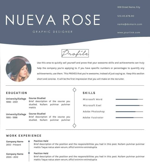 Nueva Rose | Google Docs Resume Templates To Ace Your Next Interview
