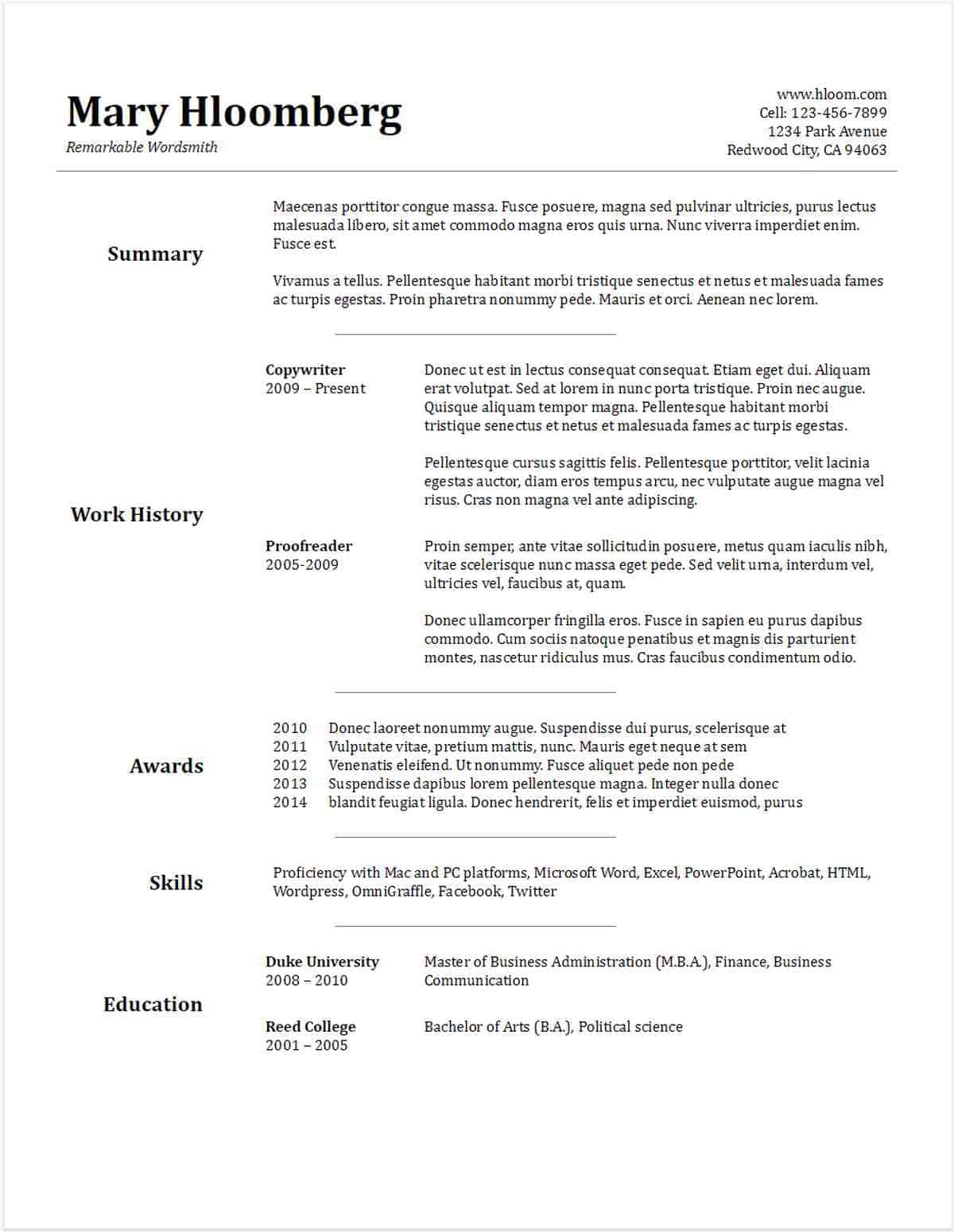 Goldfish Bowl Gdoc | Google Docs Resume Template | Google Docs Resume Templates To Ace Your Next Interview