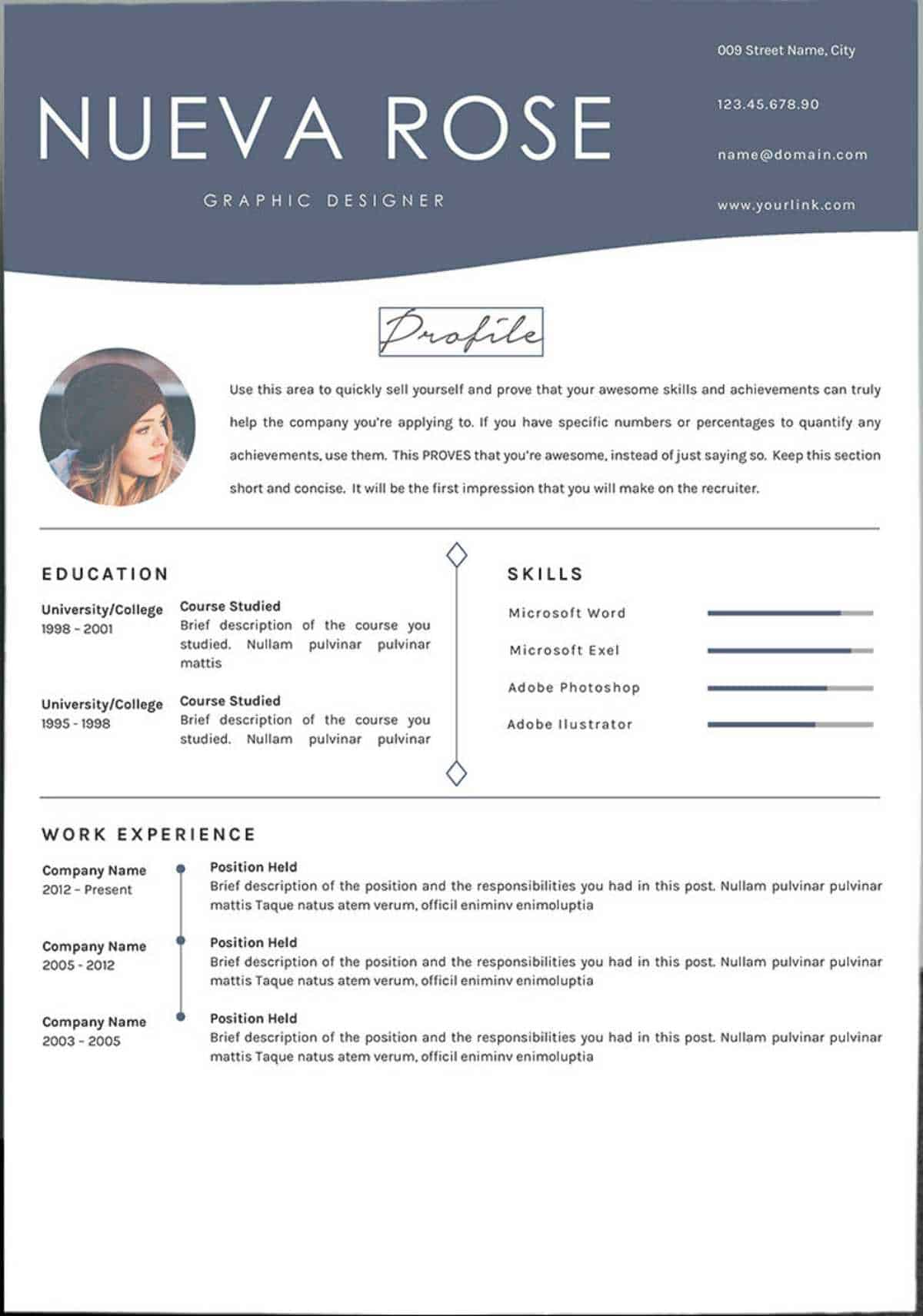 Nueva Rose | Google Docs Resume Templates [Downloadable PDFs] | Google Docs resume template free | templates for Google Docs