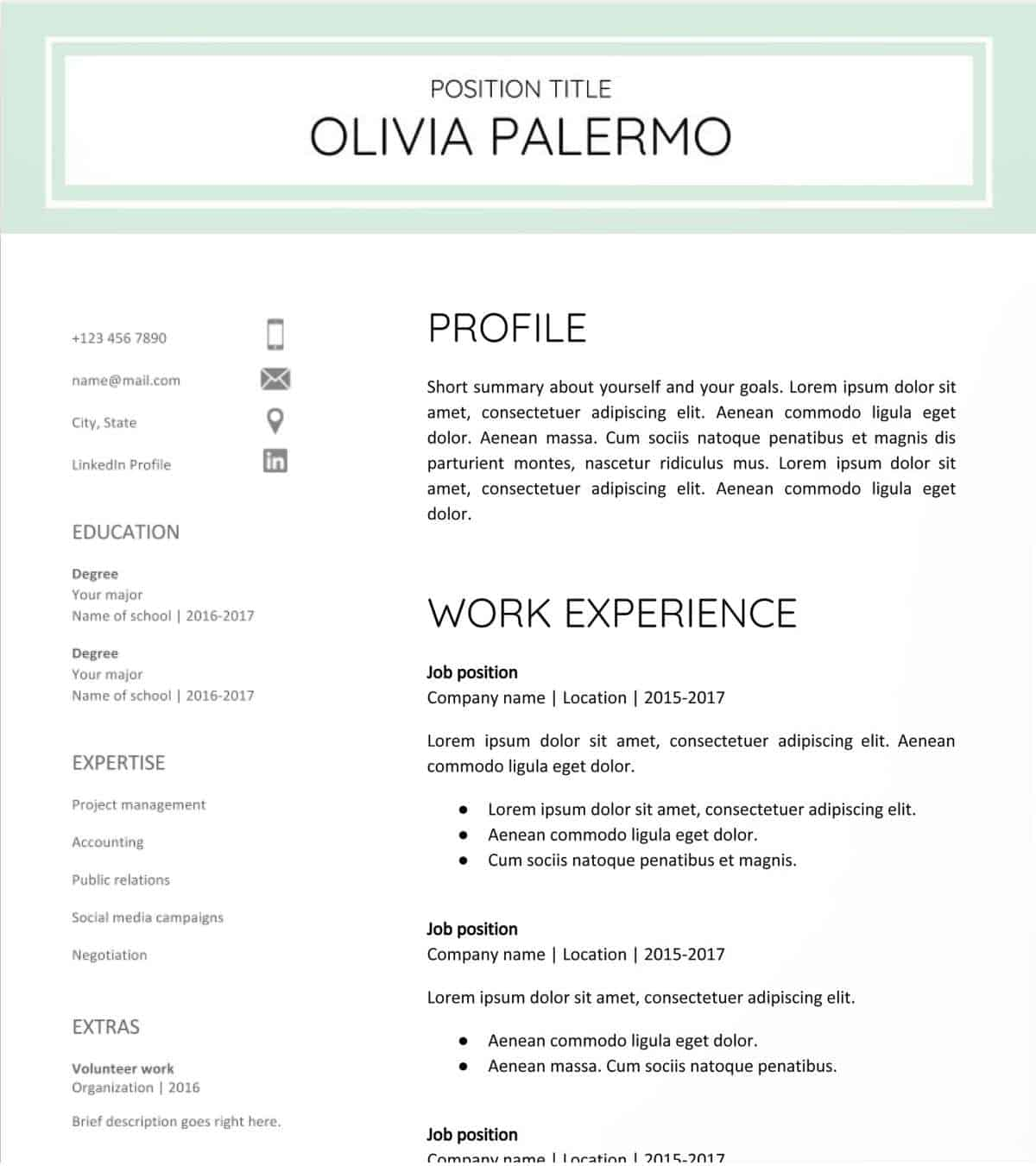 Polished and Fresh | Google Docs Resume Templates [Downloadable PDFs] | Google Docs resume template free | Google resume examples