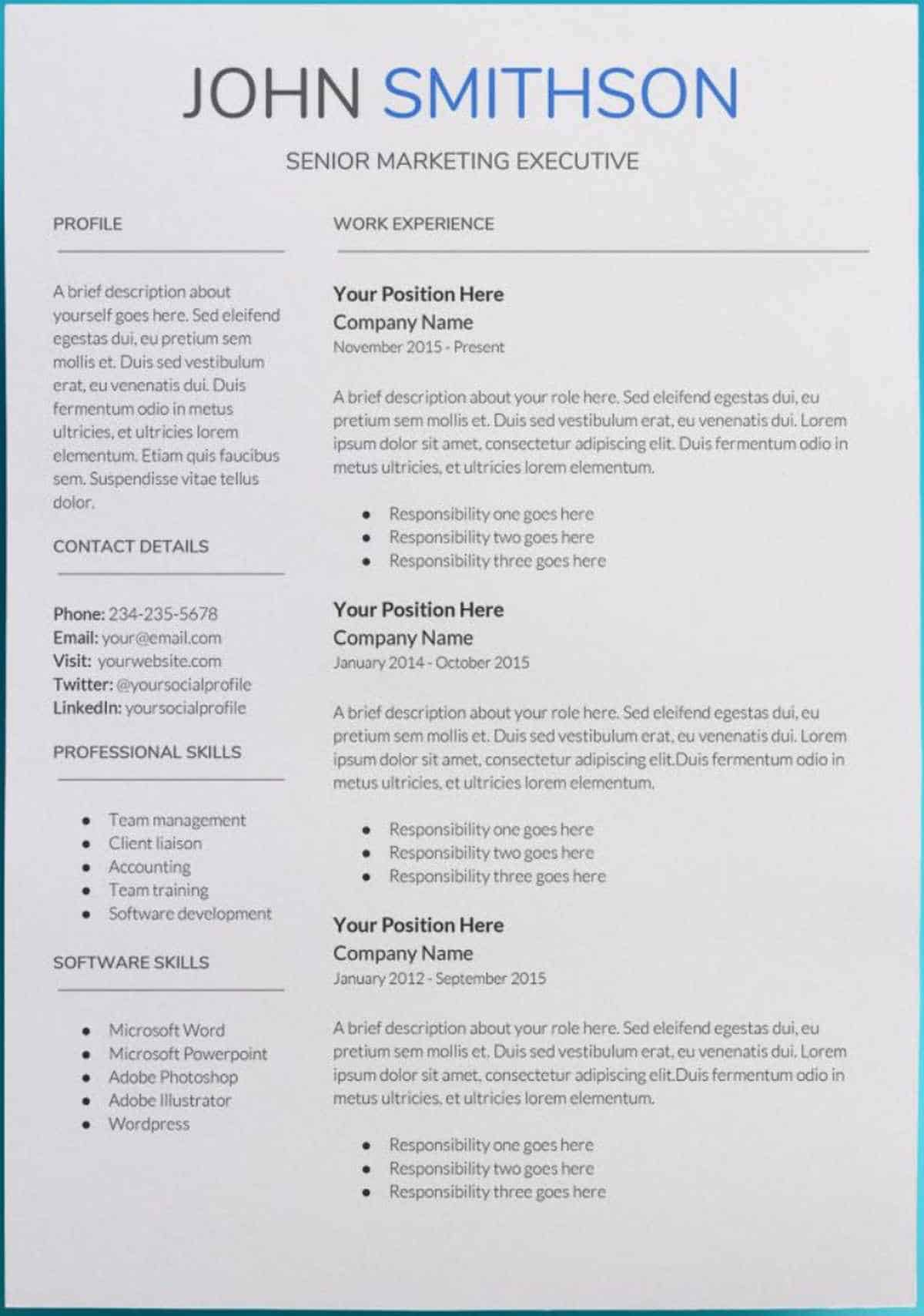 printable resume templates 30 docs resume templates downloadable pdfs 24080 | Saturn Google Docs Resume Template google docs resume template free
