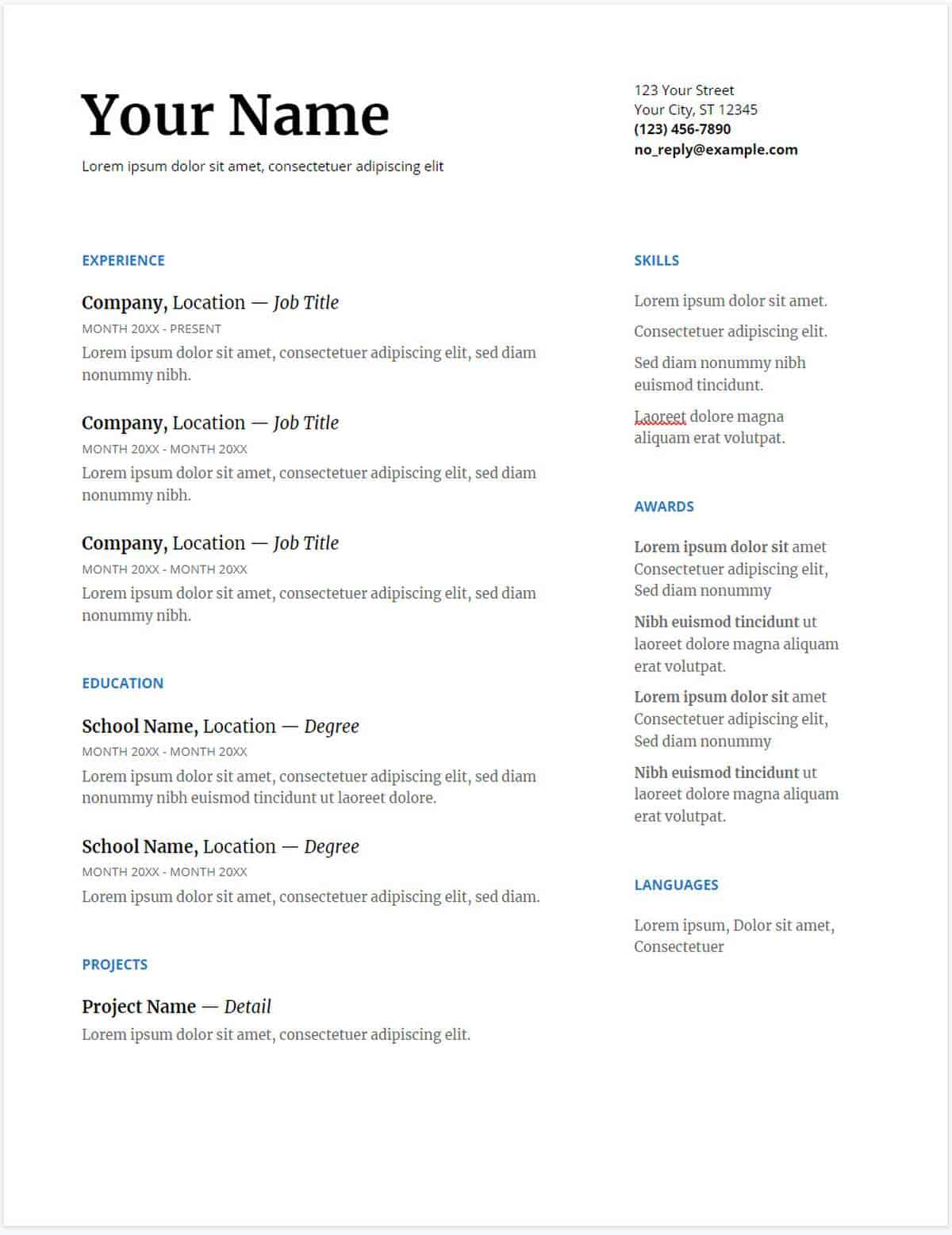Serif Google Docs Resume Template