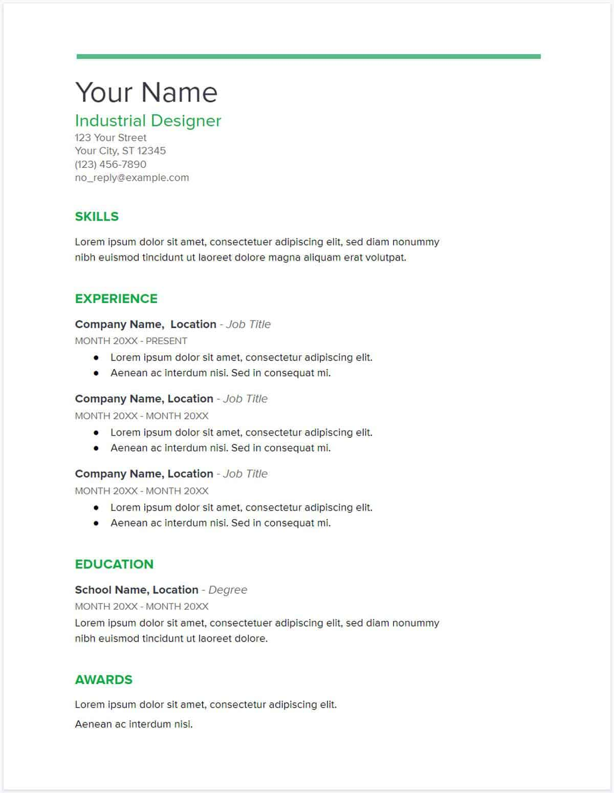 Google Docs Resume Template (Spearmint) | Google Docs Resume Template | Google Docs Resume Templates To Ace Your Next Interview