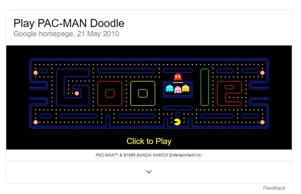 Pacman | Cool Hidden Google Search Tricks