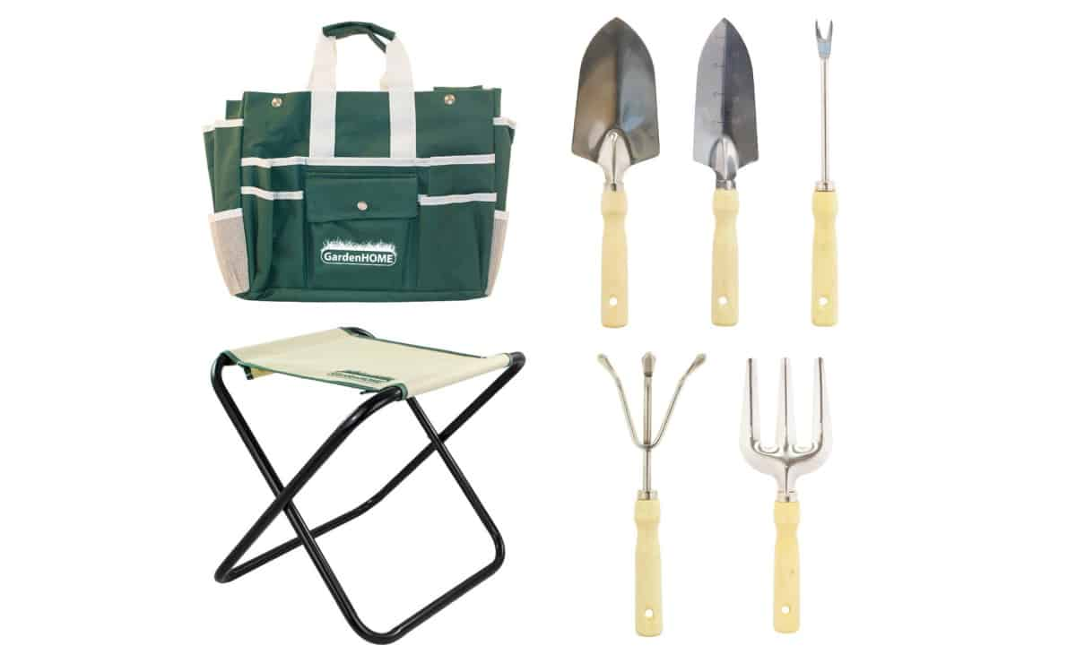 GardenHOME Folding Stool with Tool Bag and 5 Tools | Best Garden Tools And Gadgets Every Gardener Must Have