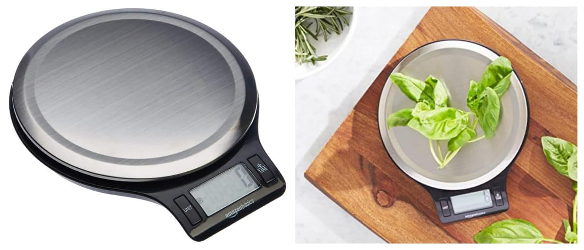 Amazon Basics Stainless Steel Digital Kitchen Scale with LCD Display | Smart Kitchen Decor And Gadgets That Will Make Cooking More Fun