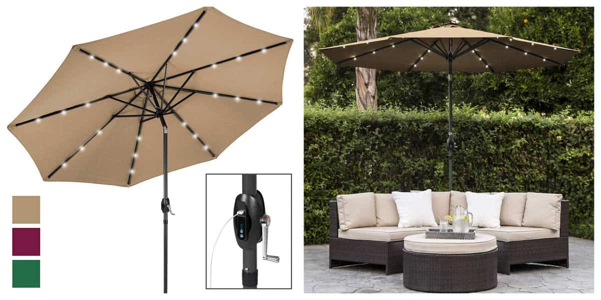 Best Choice Products 10ft Solar LED Patio Umbrella | Outdoor Tech Gadgets For Your Backyard